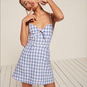 RARE Reformation Belzie mini dress- blue gingham
